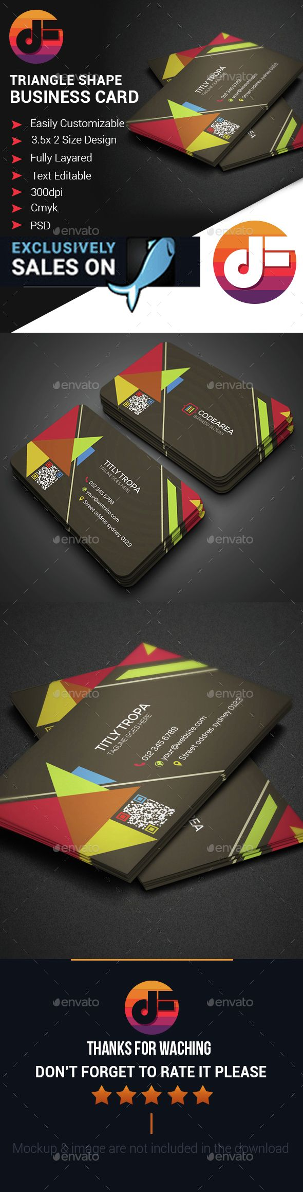 Triangle Shape Business Card | Triangle shape, Business cards and ...