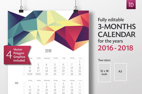 3 Months Calendar Template 2016 2018 By Bootie On Creative Market