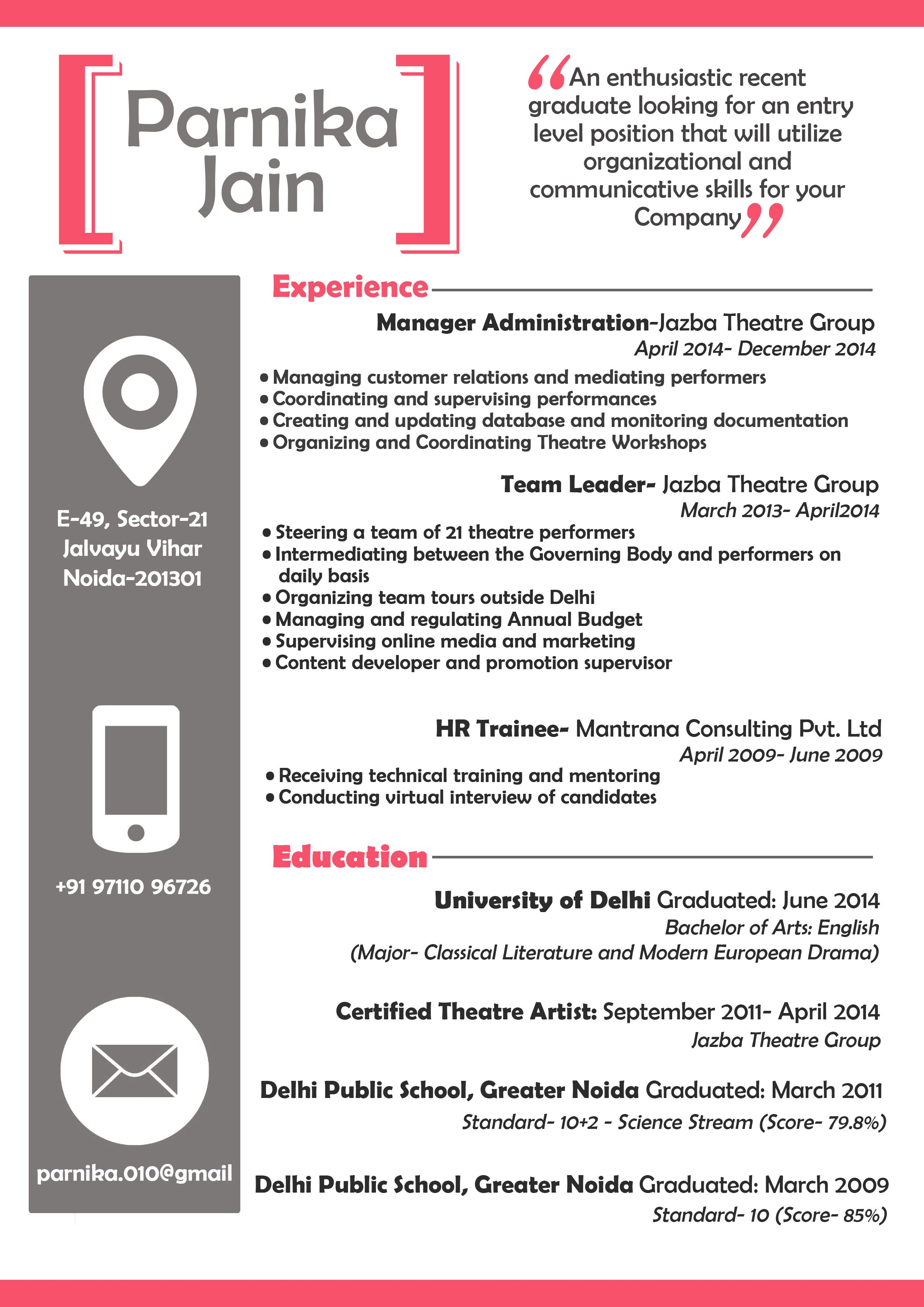 A sample design of my CV (Page 1) | my graphic designs | Pinterest