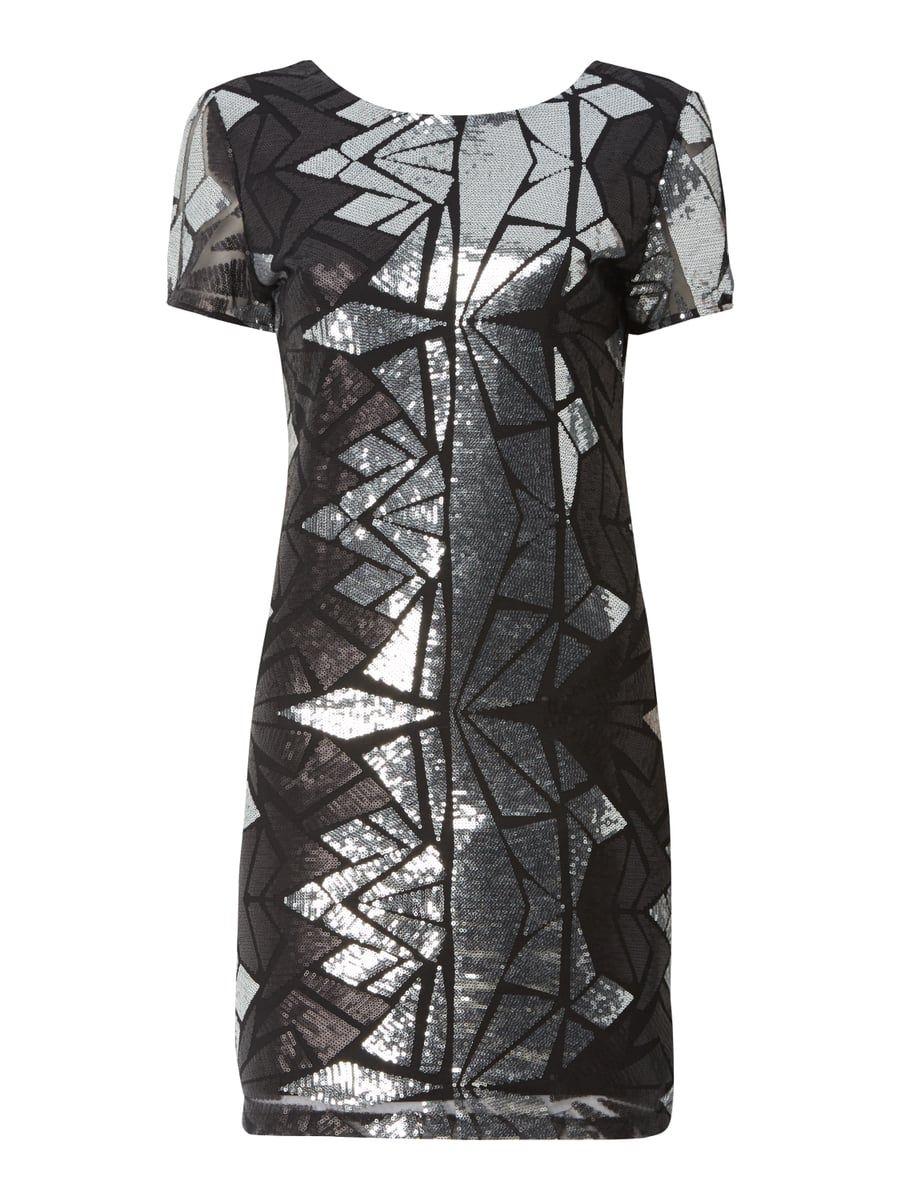63b0f0801011 Kleid mit grafischem Muster aus Pailletten Grau   Schwarz - 1 ...