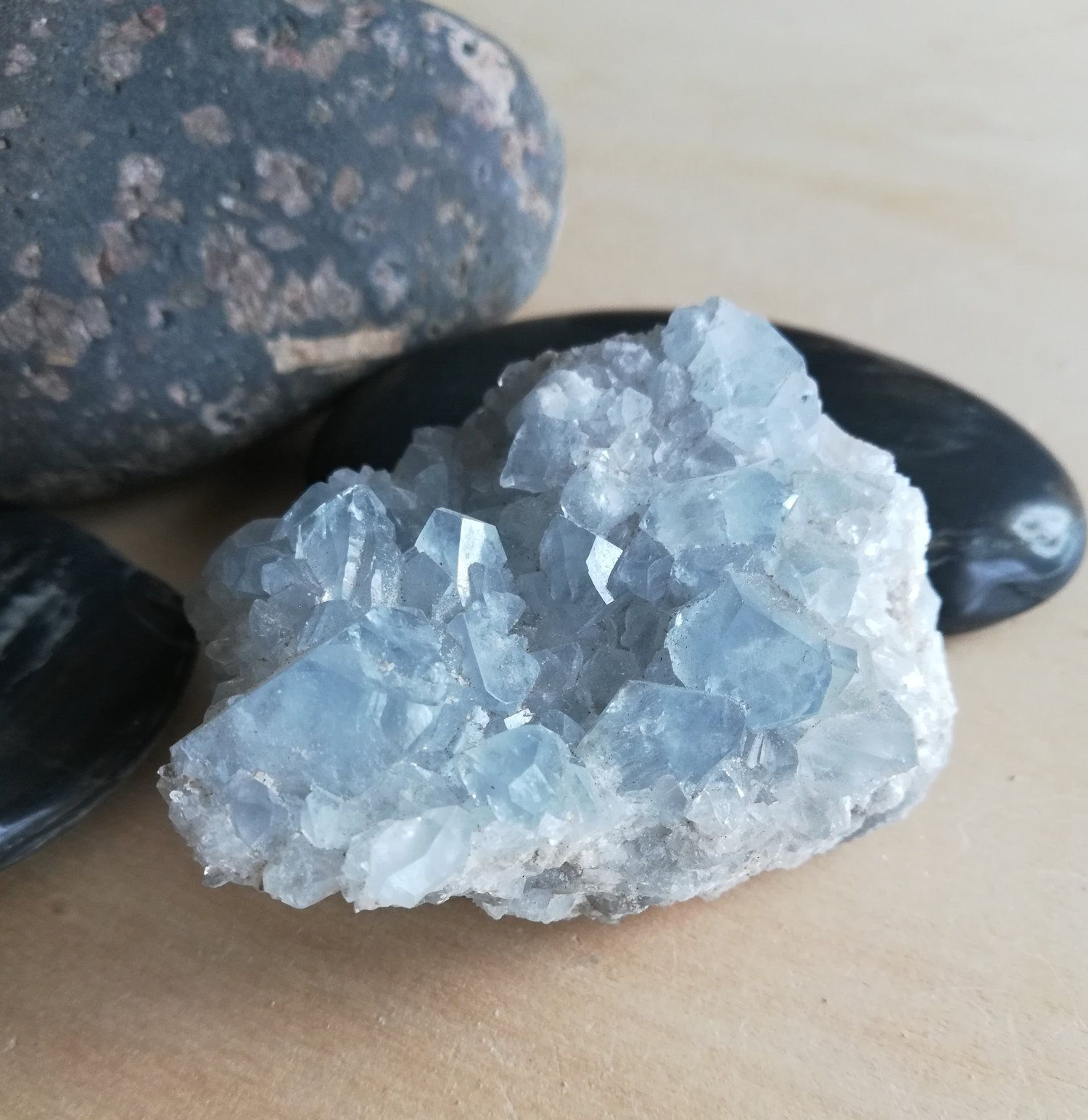 Celestite Crystal Cluster Light Sky Blue Celestine Cluster 3 4 Ounces 96 Grams Mineral Specimen For Sale By Cr Celestite Crystal Crystals Crystal Cluster