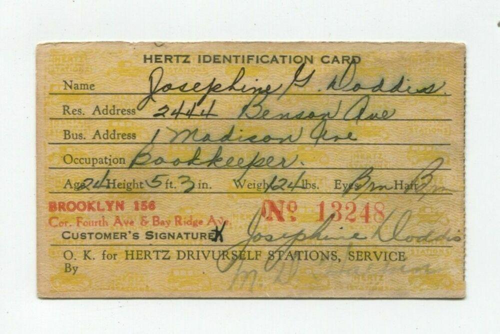 Hertz Driveurself Stations Car Rental ID Card Brooklyn