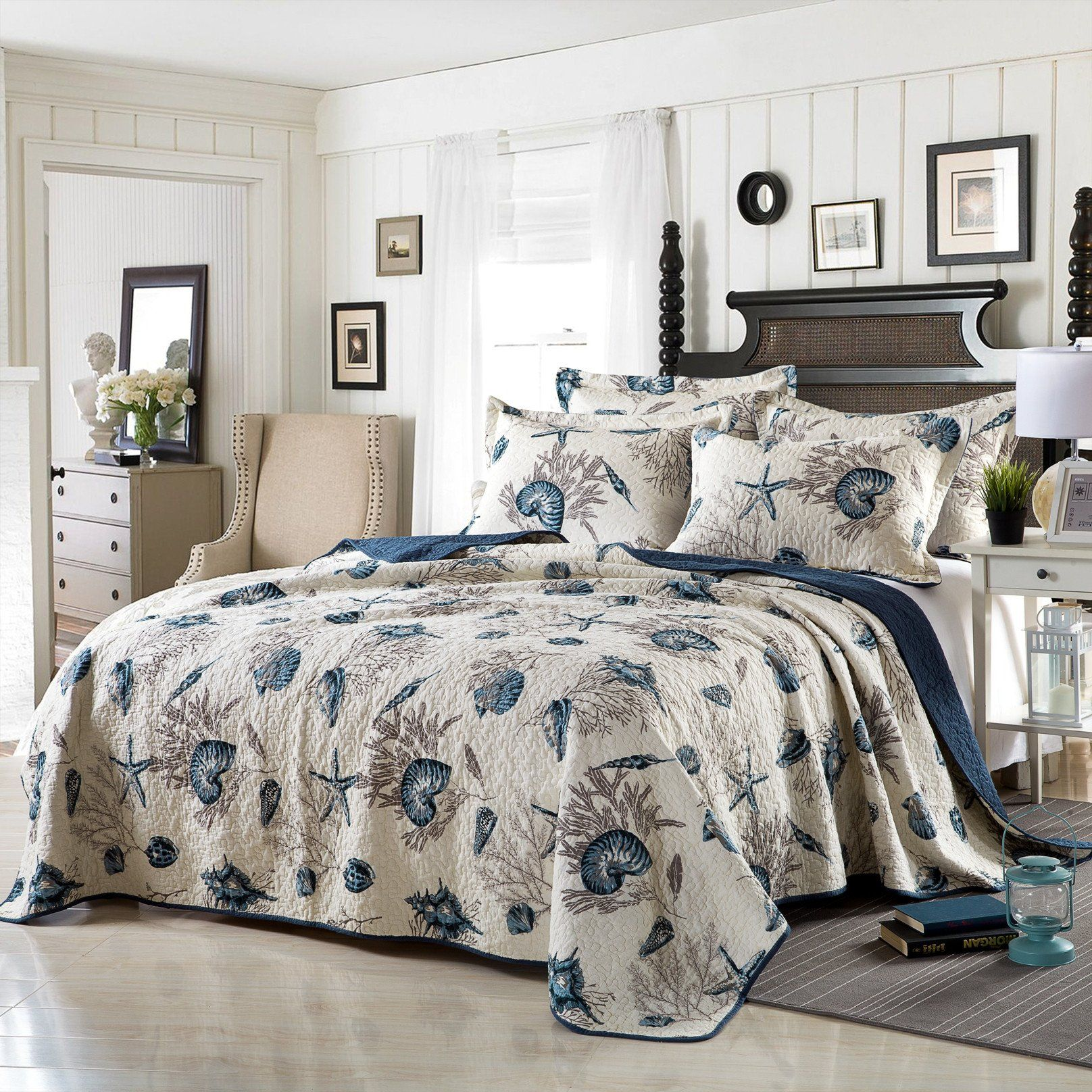Coastal Elegance 100 Cotton Coverlet Bedspread Set