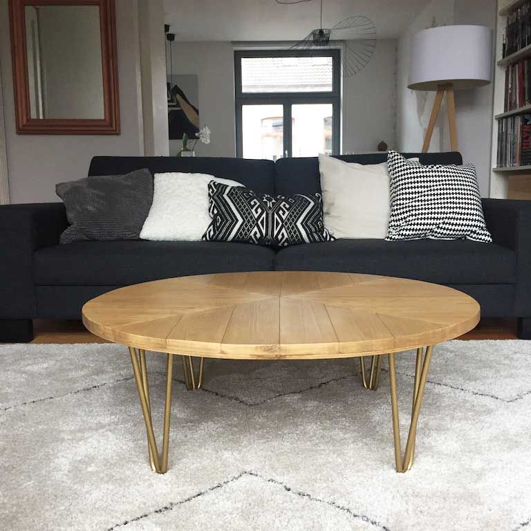 Diy Table Basse Pieds En Metal Ripaton Hairpin Legs Plateau Bois Chevrons Table Basse Bois Table Basse Table Basse Diy