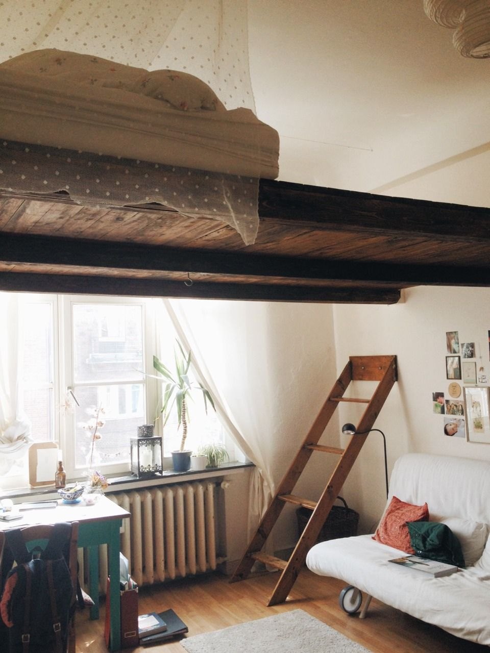 Loft bed ladder ideas  brilliant idea for a studio apartment maybe with hooks along the