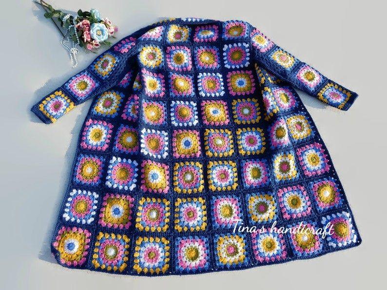 Photo of crochet coat with motifs squares, handmade item, gift ideas, winter clothing, cozy dress, long cardigan, jacket, free shipping