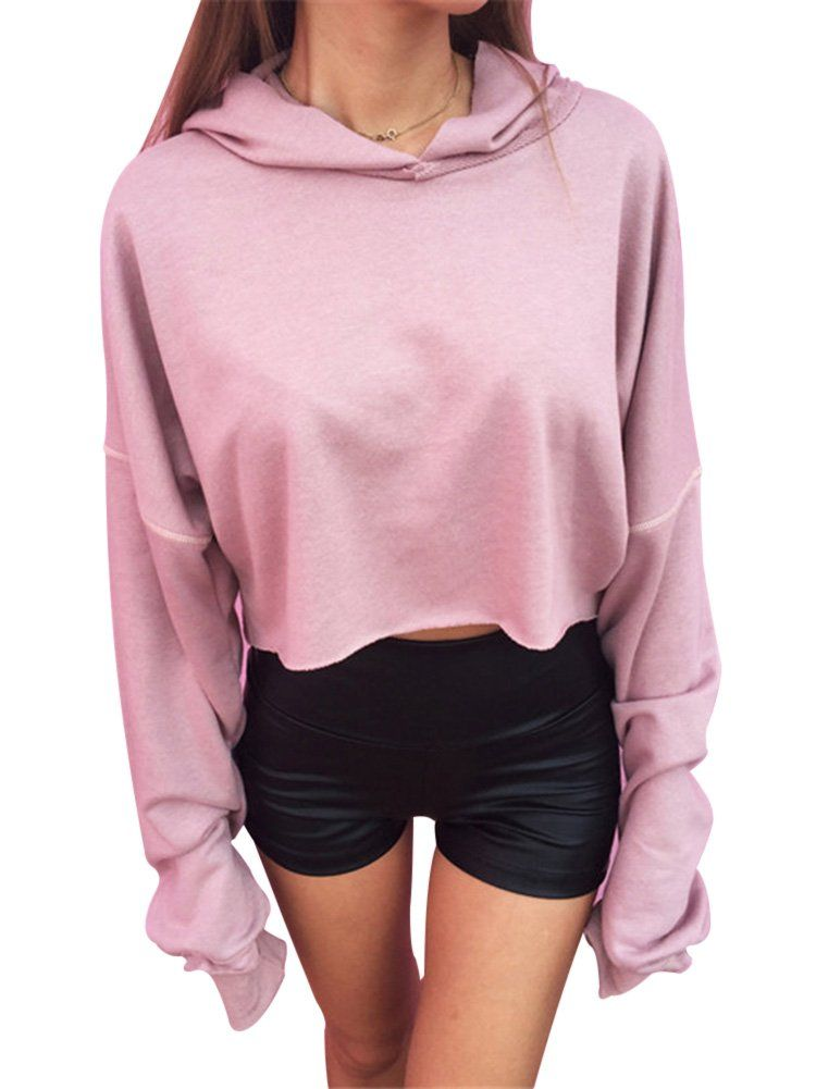 Fashion Women's Pink Plain Long Sleeves Hoodie Crop Top Sweatshirt --  Awesome products selected by