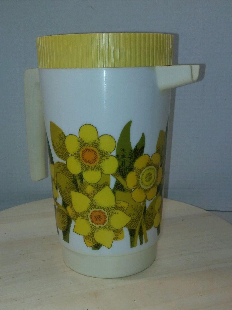 Vintage Alladin Ware Plastic Ice Tea Pitcher Carafe Daisy Print 2 1/4 qt