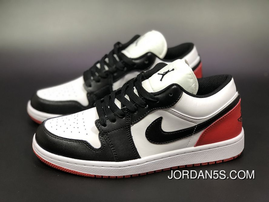 Air Jordan 1 Low AJ1 Aj1 Unisex Skateboard Shoes White Black Red Top Deals f1516affe