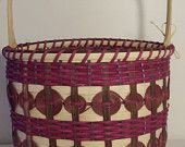 CHEROKEE BUCKET BASKET,  wooden base, Oak handle, J. Choate Basketry