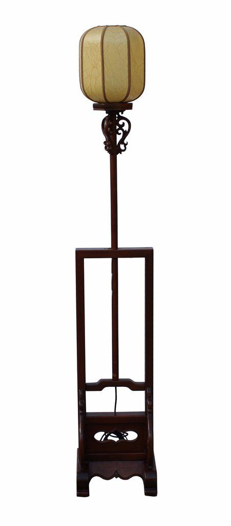 Traditional Chinese Style Tall Wood Lamp With Carved Base Beautiful Shade N210s Antique Chinese Furniture Art Furniture Wood Lamps