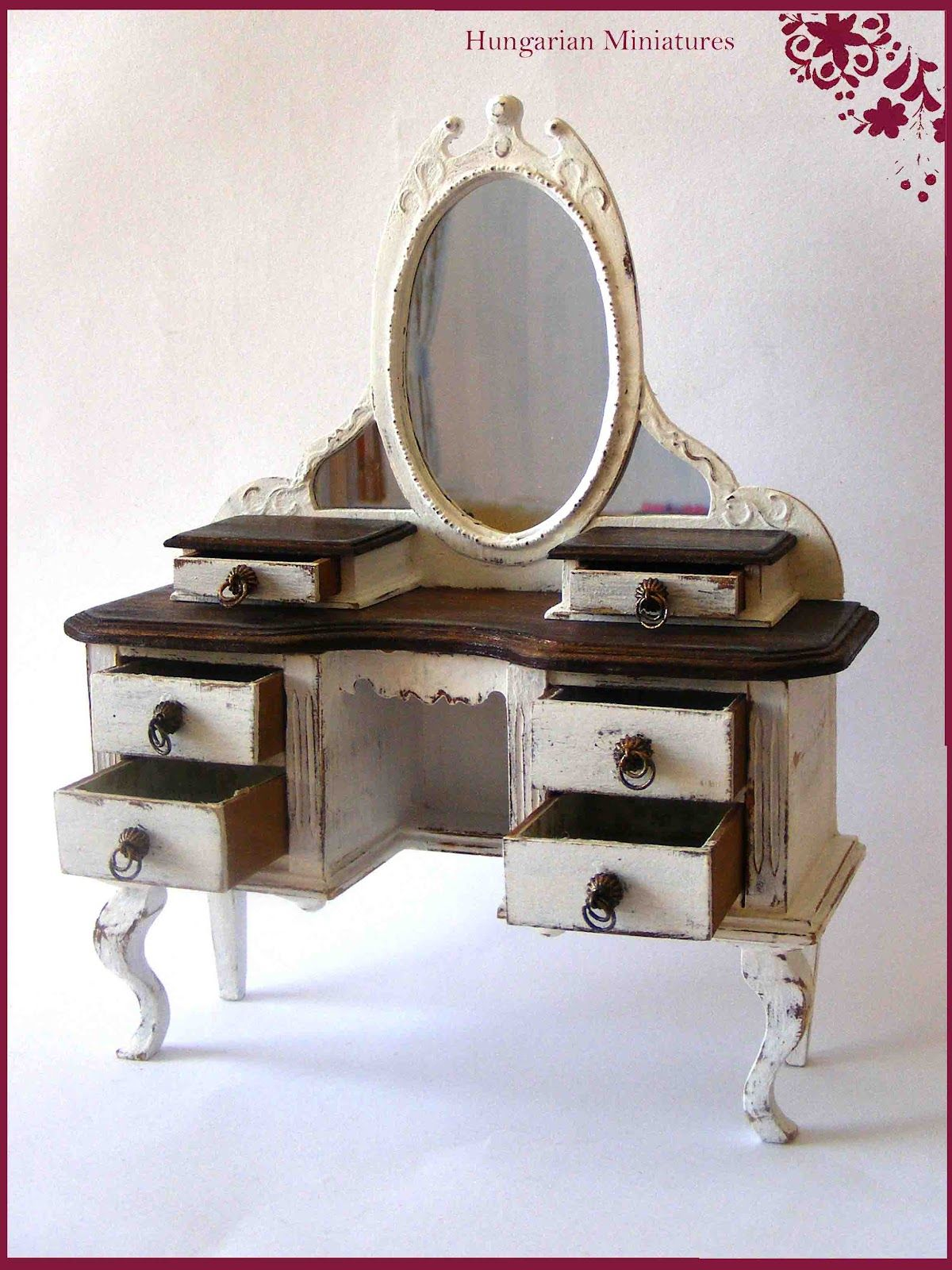 My tiny world dollhouse miniatures vanity table miniatures and