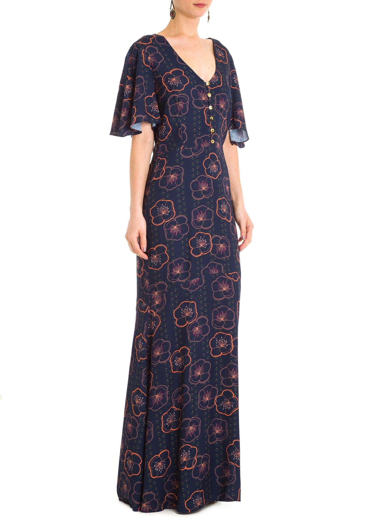 b4f05d0c0 Vestido Longo Estampa Floral - Maria Filó - Azul - Shop2gether ...