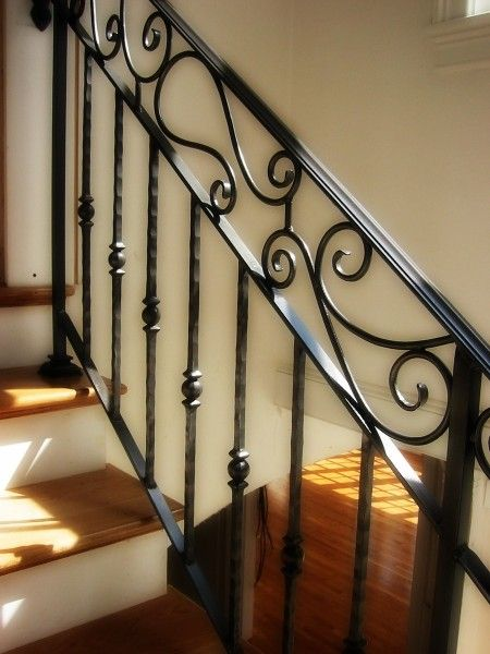 Wrought Iron Railings Wrought Iron Railings Wrought Iron   Wrought Iron Stair Handrail   Classic   Wall Mounted   Outdoor   Black And Light Wood   Residential