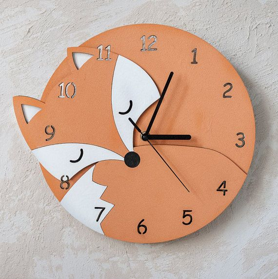 Large Wall Clock Nursery Wall Clock Fox Gift Modern Wall Clock Unique Wall Clocks Wooden Wall Clock Wall Clock Nursery Rustic Wall Clocks Kids Room Wall Decor