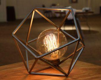 Table Lamp, Modern Geometric Edison Bulb Lamp, The Mercedes Table Lamp, UL  Certified
