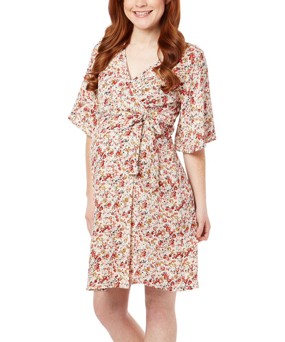 Due time maternity due time ivory coral floral bell sleeve due time ivory coral floral bell sleeve maternity wrap dress ombrellifo Images