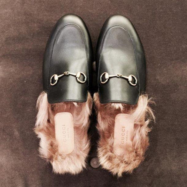 0c820814b97 Shoes  tumblr slide gucci gucci gucci princetown black slides fluffy fur  designer designer