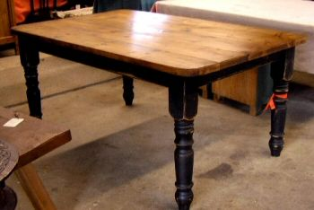 farmhouse table with painted legs