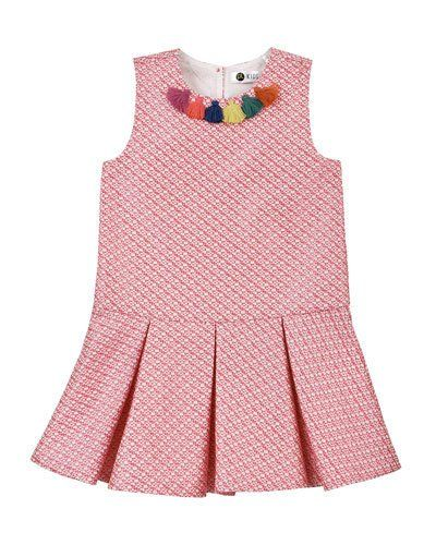 Sleeveless Tweed Tassel Dress, Coral, Size 5-6X