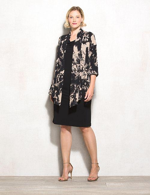 7eda48ba18 Plus Size Black And Neutral Jacket Dress