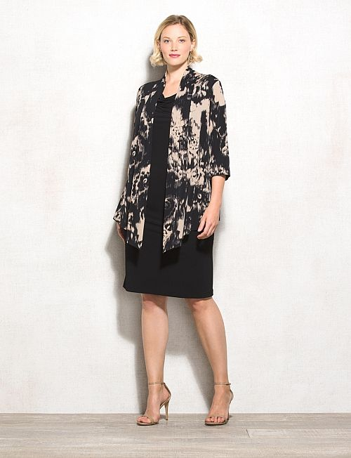 95d5e5042a Plus Size Black And Neutral Jacket Dress