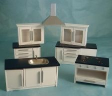 Streets Ahead Dollshouses Modern White Kitchen Set DF977