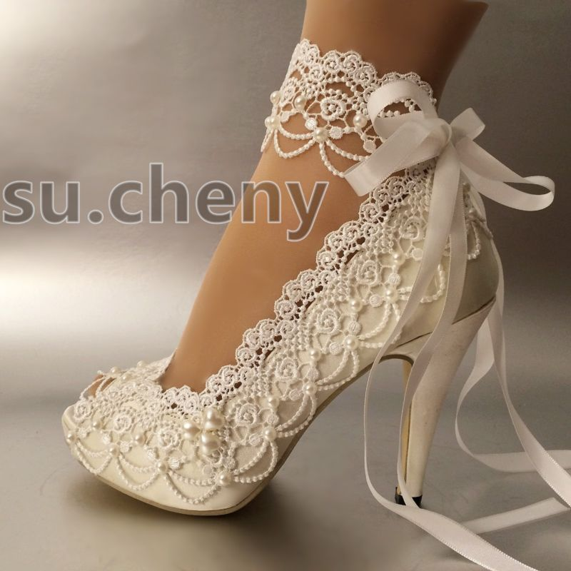 3 4 Heel White Ivory Satin Lace Ribbon Open Toe Wedding