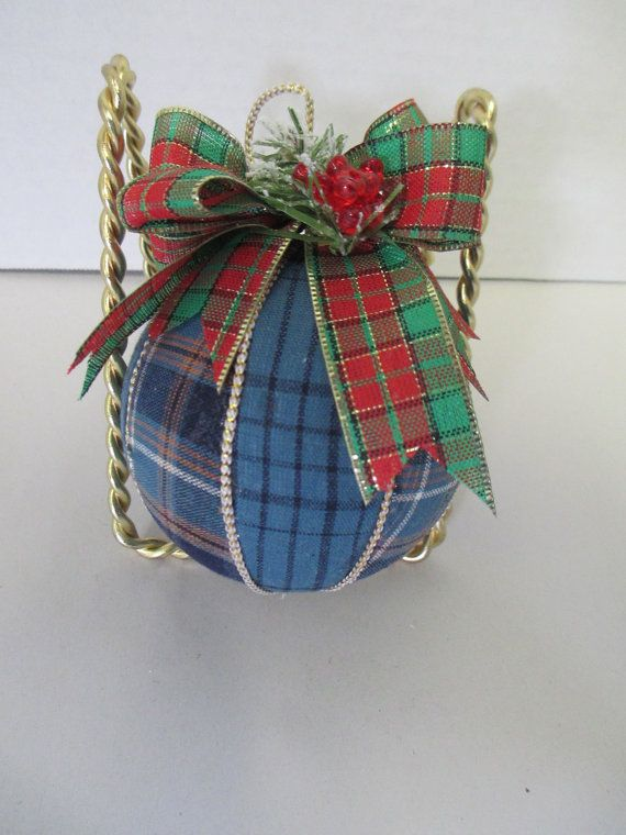 Quilted Christmas Plaid Fabric Ball ornament by THEFEATHERMERCHANT