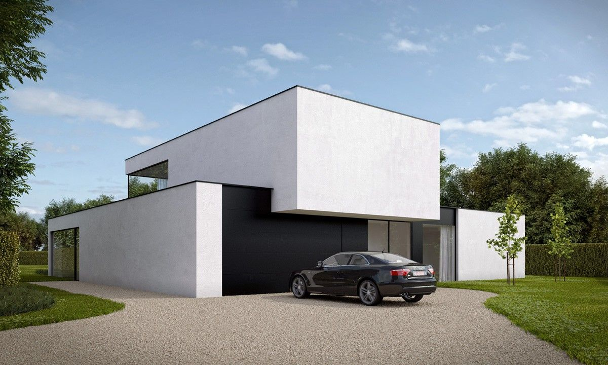Nieuwbouw villa bouwen van moderne gezinswoning