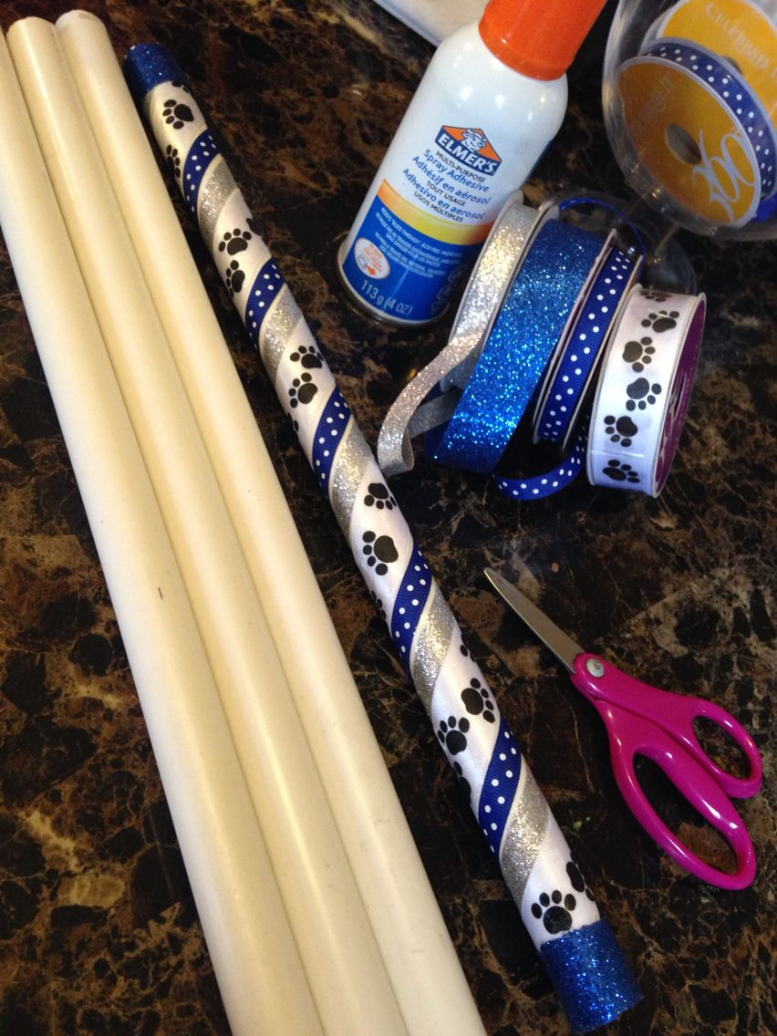 PVC Pipe turned into Spirit Sticks for each girl at the end if the season!