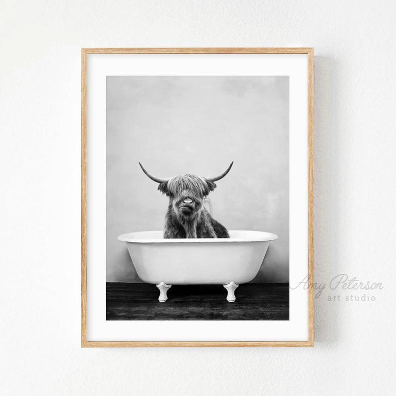 Highland Cow In A Bathtub Black And White Print Taking A Etsy Bathroom Wall Art Bathroom Artwork Bathroom Art