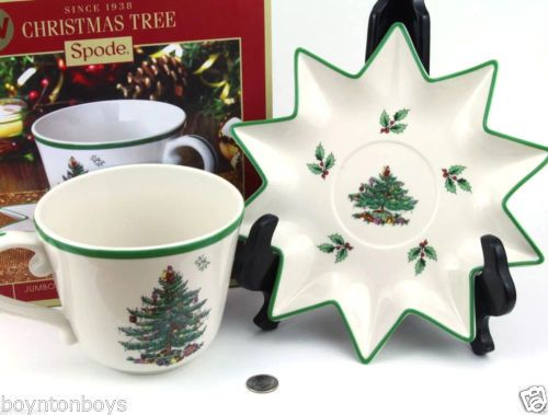 Spode Christmas Tree LARGE 18oz Coffee Tea Cup with Saucer - NEW IN