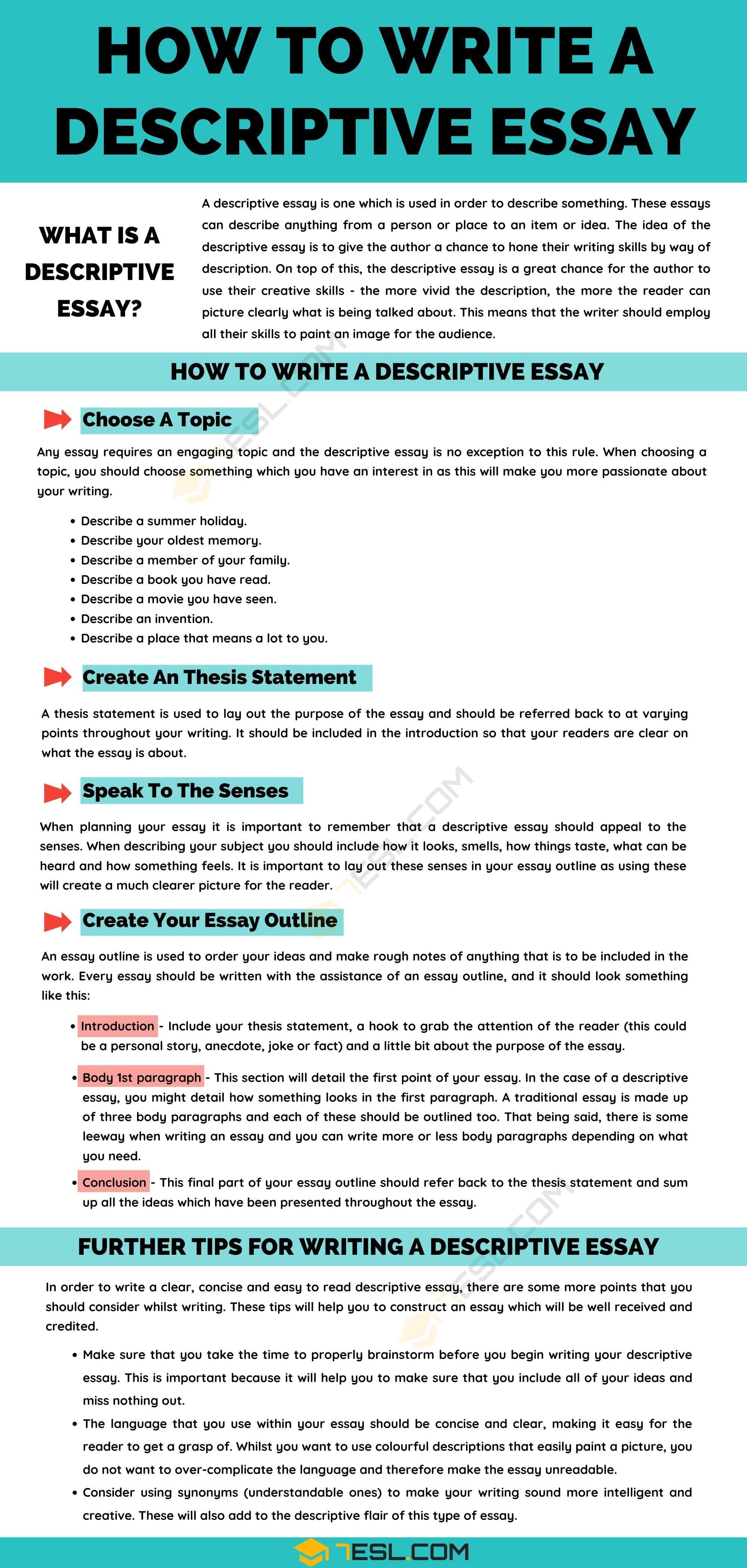 Descriptive Essay Definition Example Tip For Writing A 7esl Skill Book Tips Define