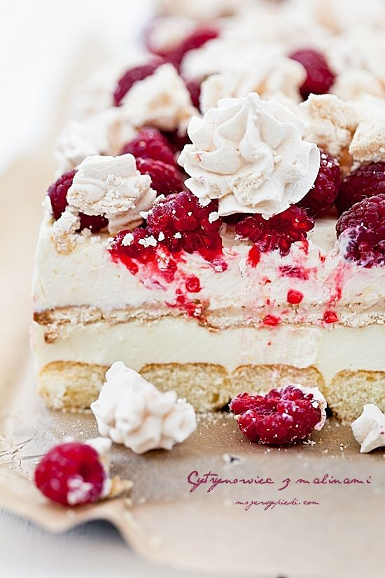 Raspberry Lemon Curd And Meringue Cake Cooking Cake And