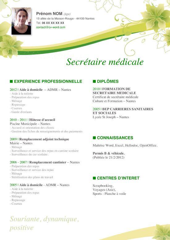 exemple de cv secrétaire médicale modele cv secretaire medicale gratuit | secretaire médicale  exemple de cv secrétaire médicale