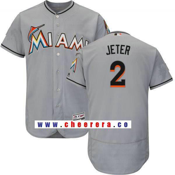 Men's Miami Marlins #2 Derek Jeter Gray Road Stitched MLB Majestic Flex  Base Jersey