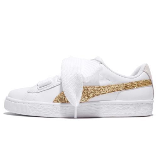 8060b6e9c59 Puma Basket Heart Glitter Wns White Gold Leather Women Shoes Sneakers  36407-801  JCrewWomensShoes