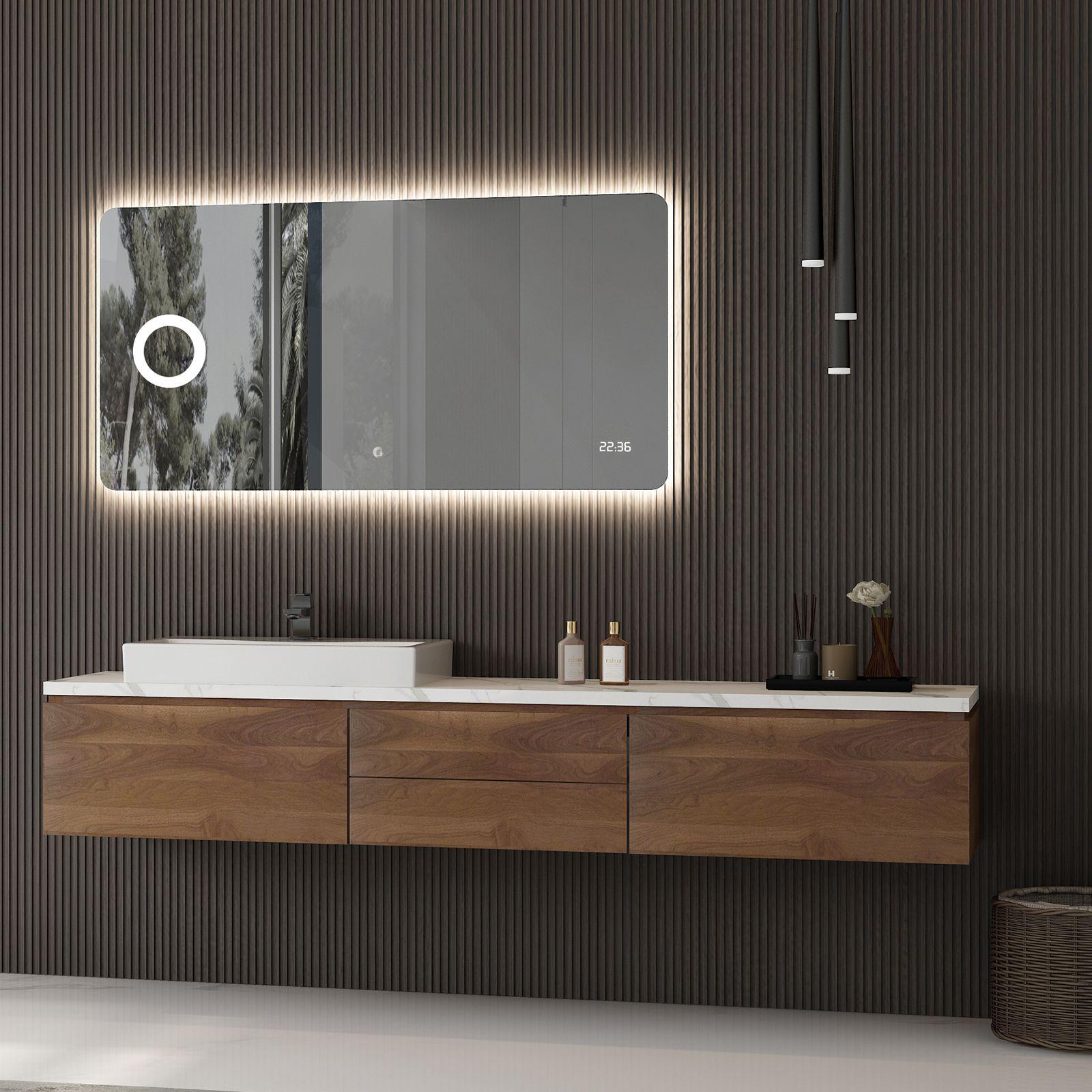 Led Lichtspiegel Badspiegel 2436 Mit Spiegelheizung Kosmetikspiegel Digitaluhr Breite Wahlbar Badewelt Badspi In 2020 Spiegelheizung Badspiegel Spiegelschrank Led