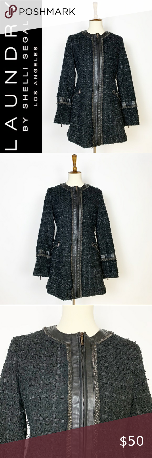 """Laundry by Shelli Segal Ribbon Trim Tweed Coat MD Measurements Approximate Laying Flat-   ▫️Length: 31""""  ▫️Pit to Pit: 19""""  ▫️Size: Medium   ▫️Condition: Excellent Preowned Condition   ▫️Materials: See Photos  ▫️Color: Black Skimmer   ▫️Style: Tweed, ZIP Front , Silky Smooth Lining   ◻️Inventory #0706  FAST SHIPPING / SMOKE FREE HOME Laundry By Shelli Segal Jackets & Coats"""
