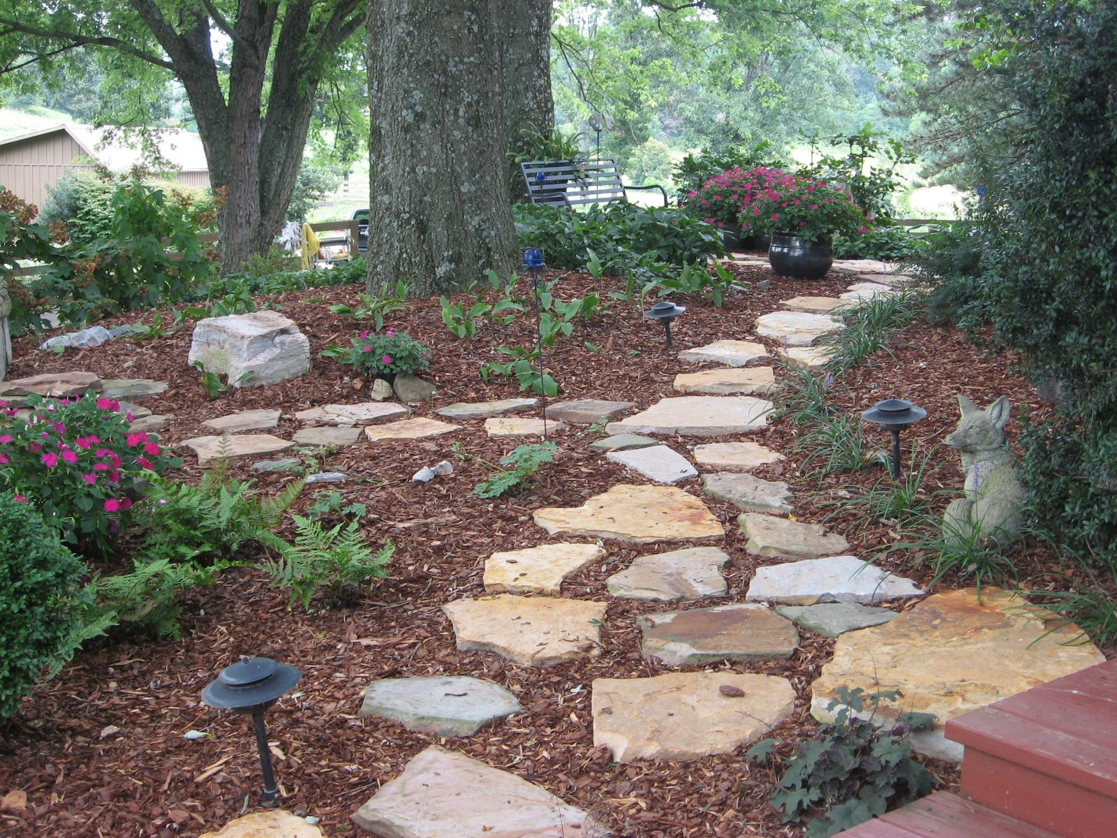 Stone walkway in shade garden wooded back yard ideas for Ideas for landscaping large areas