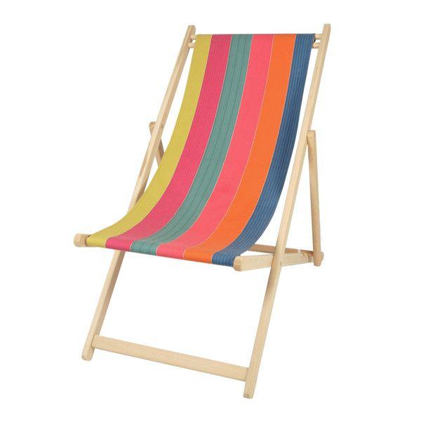 Chilienne en h tre toile en coton amovible cette chaise longue en bois avec toile multicolore - Chaise longue en bois et toile ...