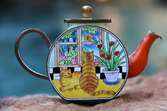 Vintage Kelvin Chen Kitty Teapot Featuring Two Ginger Tabby Kitties Sitting  By A Window. Beautiful Enamel Over Copper Miniature Teapot With Lid Thau2026