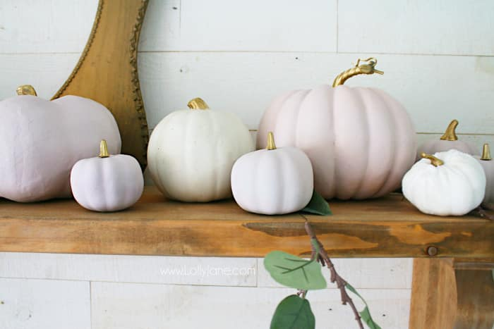 DIY Pink Pumpkins | Fall Mantel Decor - Lolly Jane