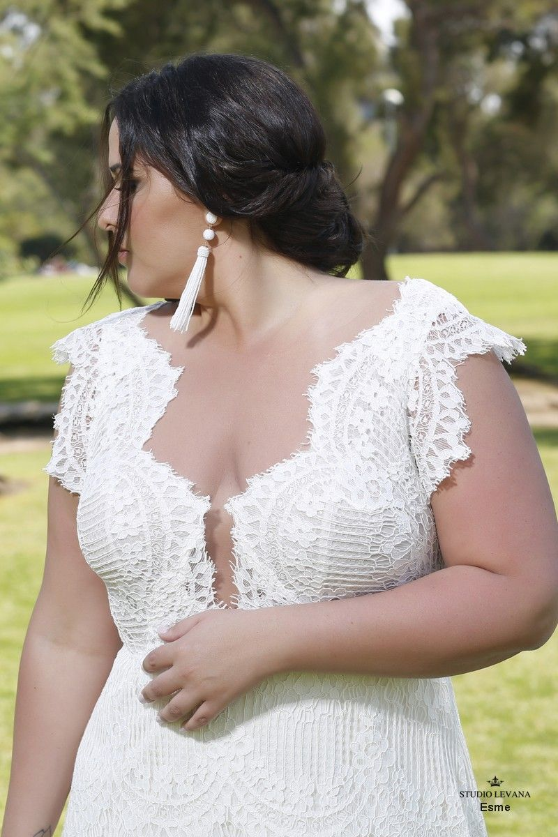 Plus size lace mermaid wedding gown with short cap sleeves esme