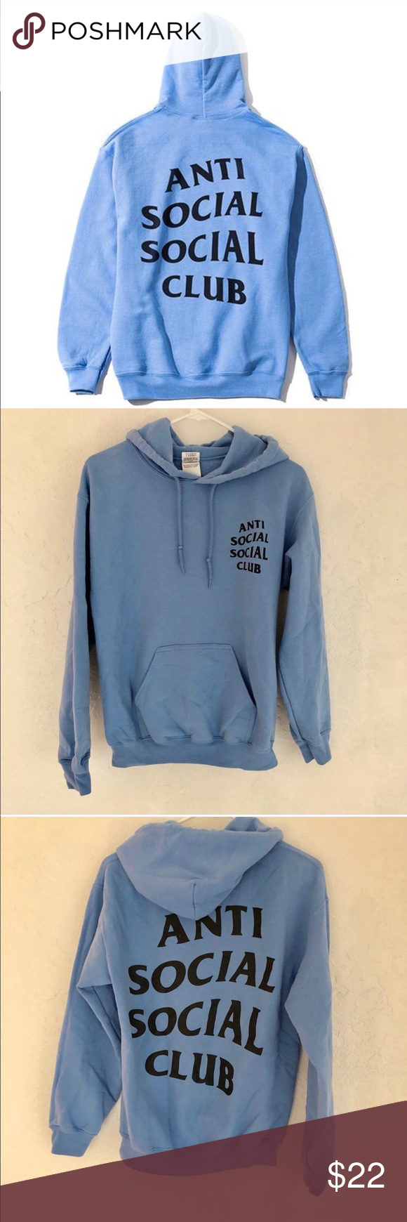 e2c01e37271f Anti Social Social Club sweatshirt This is not the authentic brand.  Sweatshirt is in good condition! Super cute baby blue Anti Social Social  Club Tops ...