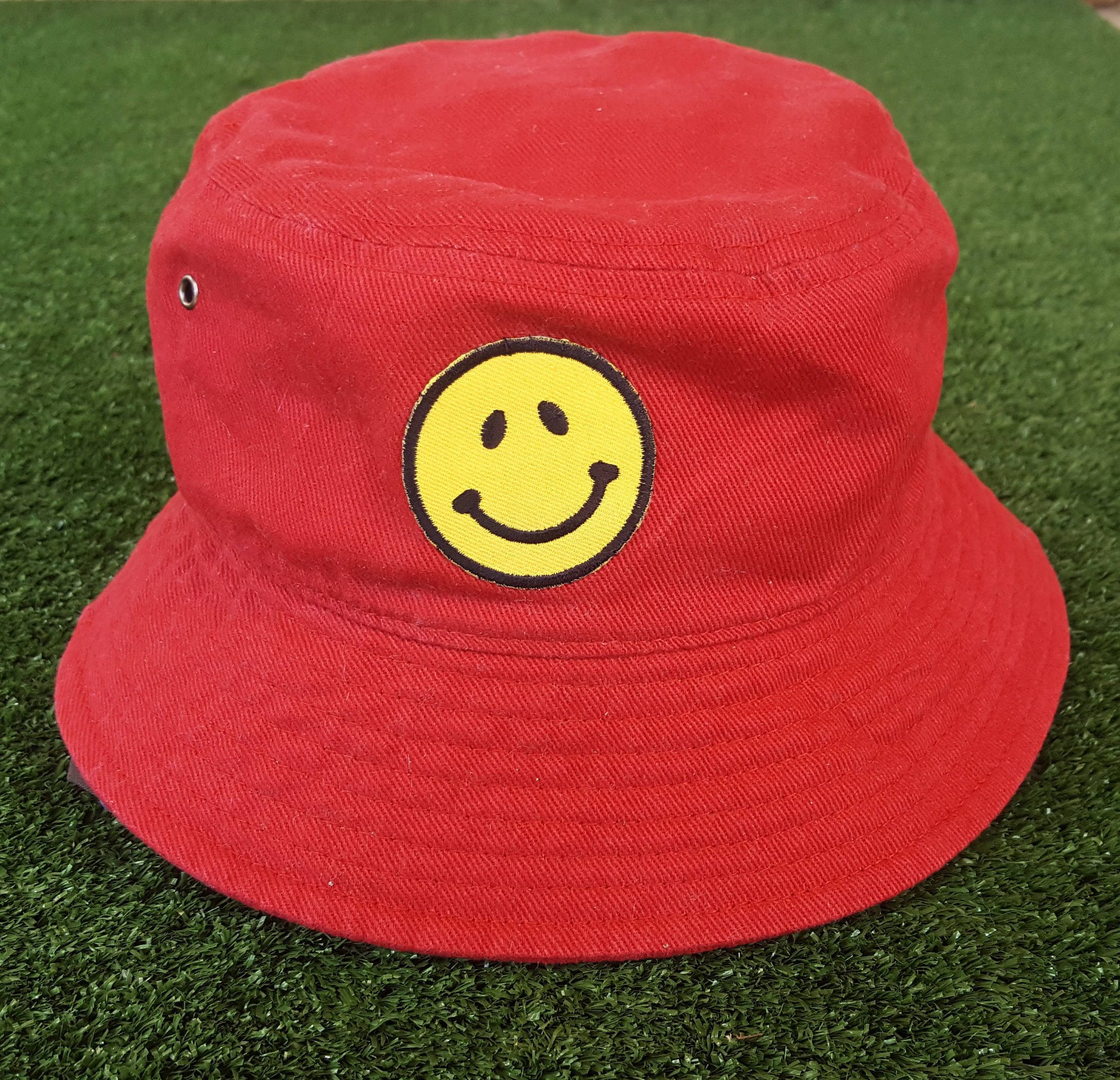 d65c85cbc 90's Raver Bucket Hat, Smiley Face, Hand Patched, Red Dad Hat ...