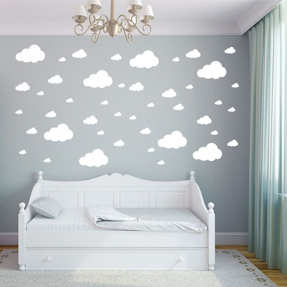 Details about Cloud Wall Stickers Children\'s Bedroom Nursery Sticker ...