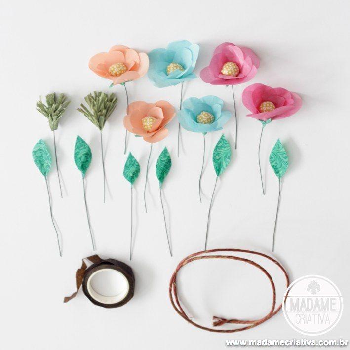 Populares Como fazer coroa de flores de papel ou flores artificiais - passo  NM69