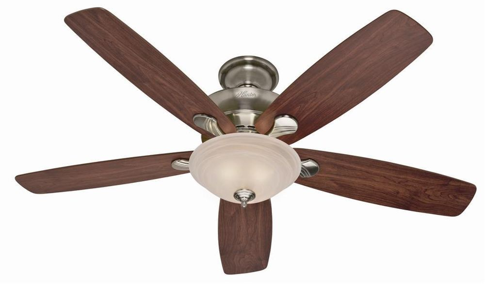 Hunter 60 Large Ceiling Fan With Light Fixture Brushed Nickel Hr